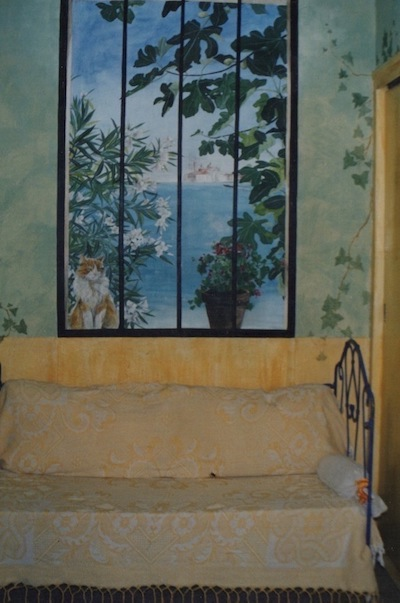 View of Venice and a ginger cat on the first plan with fig tree. acrylic technic