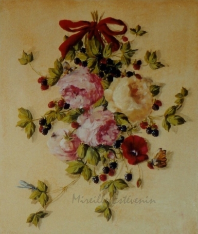 Detail of a bunch with roses as a XVIII century painting. oil on wood