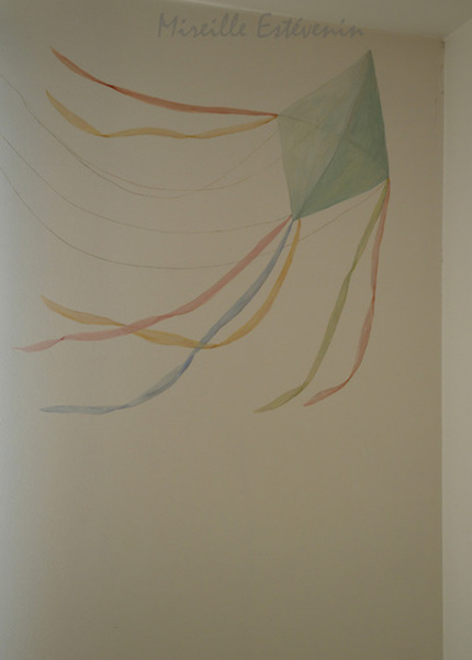 Kite painted on the wall of the twins bedroom, with pastel colors. acrylic technic