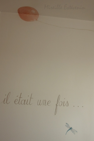 """""""Once upon a time...."""" and baloon painted on the wall of twins bedroom. acrylic technic."""
