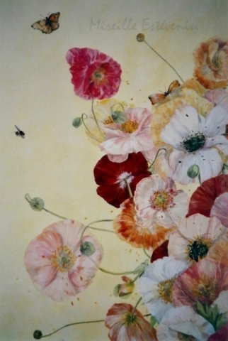 Poppies painted on panel wood of the four-poster bed. mixed media technic