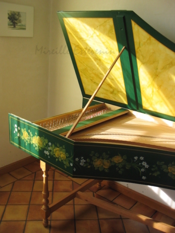yellow roses garland painted on the harpsichord, and yellow marble . oil paintings