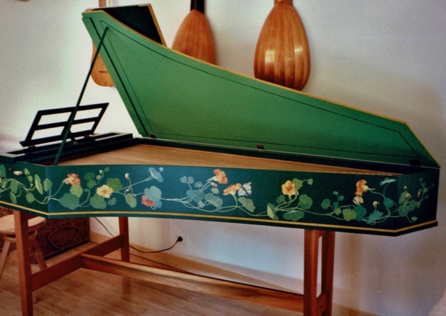 nasturtiums garland painted on the harpsichord already painted with dark green. oil paintings