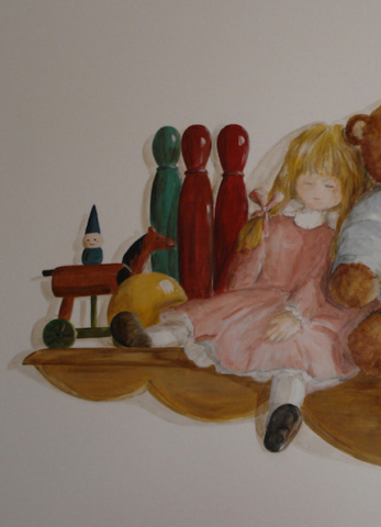 Detail of the shelve with toys and doll.acrylic technic on wall in the twins bedroom