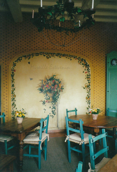 trompe-l'oeil mural painted on the wall of breakfast in the Crillon le Brave Hotel. Oil paintings