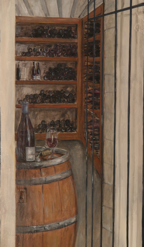 Wine cellar painted on wood door in the back of the restaurant room. acrylic technic