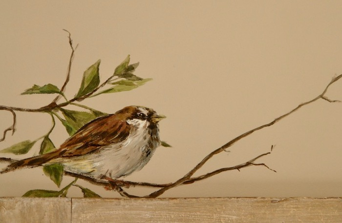 Sparrow painted on the wall of the birds bedroom (detail). acrylic technic
