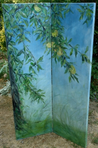 Décor with green apples on the tree and blue sky painted on the verso side of the screen. mixed media on wood
