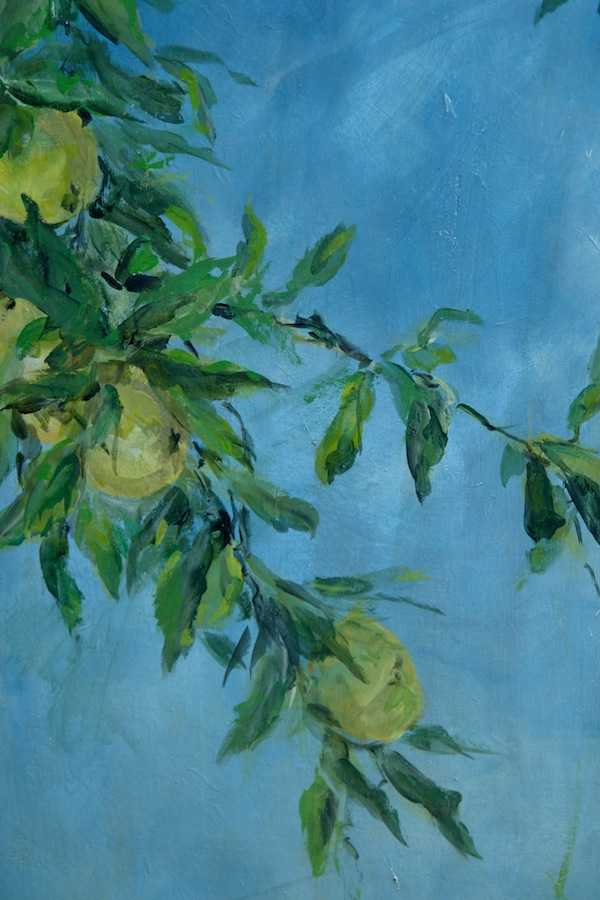 Detail od apples and leaves on the color blue of the sky, painted on the verso side of the screen. mixed media on wood