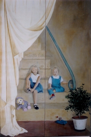Trompe-l'oeil mural of a girl and a boy setting on stairs with toys ,painted on 2 big doors in the parent's bedroom. acrylic technic on wood