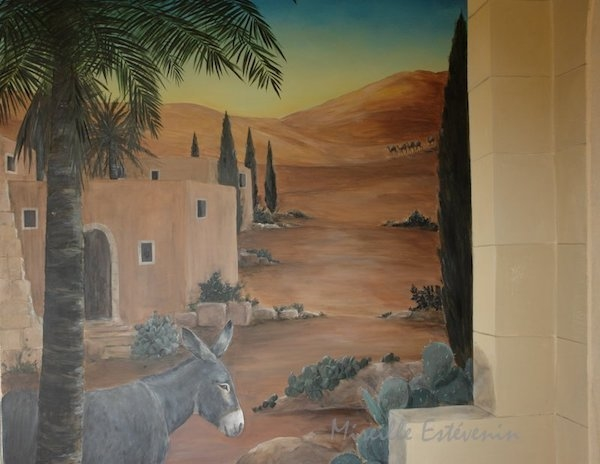 detail of the landscape mural painted on  a wall of the entrance of Estoublon chapel. mixed media