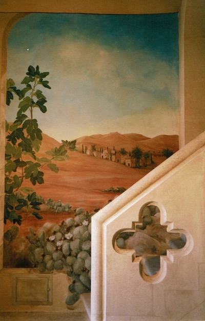 trompe-l'oeil mural painted on the entrance walls on the Estoublon chapel. Mixed media
