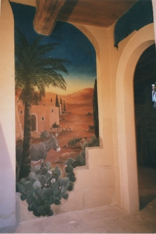Nativity mural painted on the entrance of the Estoublon Chapel. mixed media