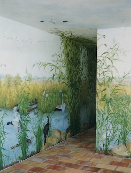 Camargue landscape painted on 65m2 walls and ceiling in a hunting lodge at Fontvieille. mixed media