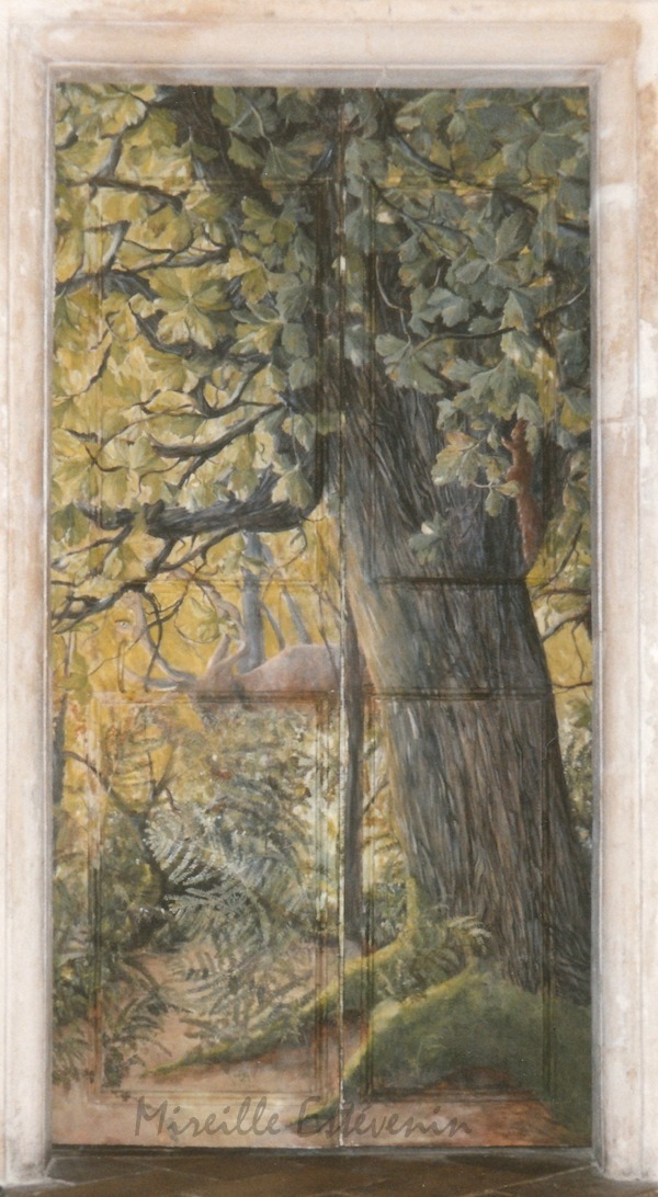 Décor of oak tree in the forest with animal painted on an ancient wood door (with panels) in a dining room. oil paintings