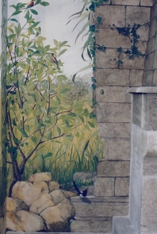 Detail of the mural painted on the wall near the fire place in the hunting lodge. Fake stones for the wall around the fire place. mixed media