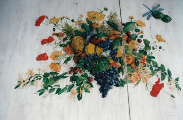 Still life painting with fruit and flowers on a wood  kitchen table. acrylic technic