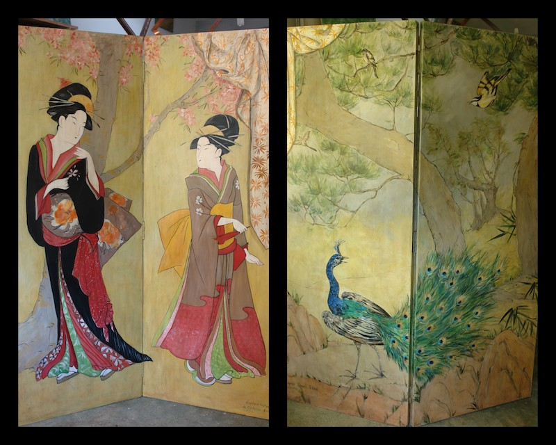 The 2 sides of the Japan screen inspired by 2 Japanese painters. mixed media on wood