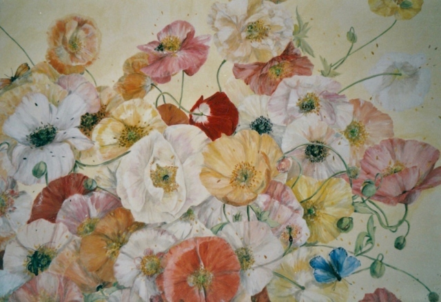Poppies painted on panel wood of the four-poster bed. The poppies are pale colors as white, pale pink, pale orange, pale yellow.mixed media technic