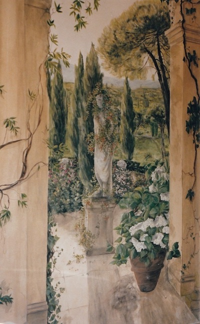 trompe-l'oeil mural painted on a wall of a bathroom with a view on an Italian garden. mixed media