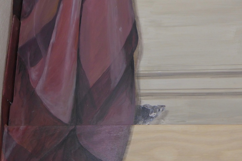 Detail of the little mouse hided behind the fake curtain, painted on a wood panel. acrylic on wood