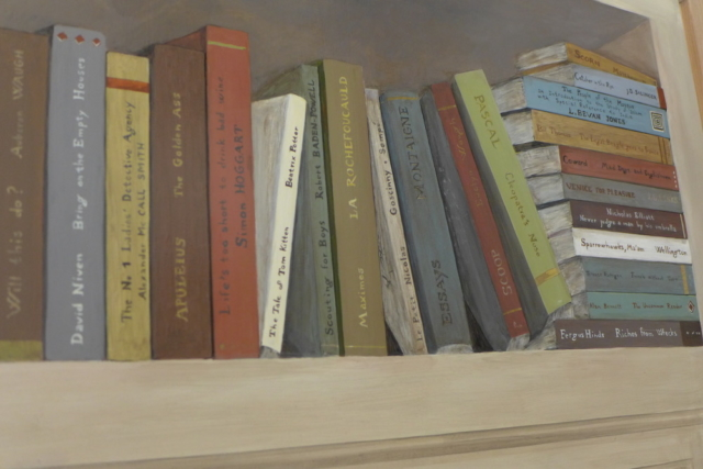 Detail of English books painted on the wood panel . mixed media on wood