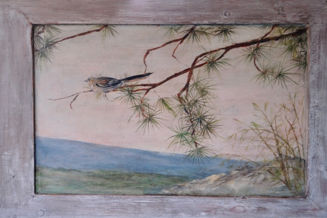 Detail of the décor painted on 2 wood panels, with branches and bird. mixed media on wood. birds bedroom