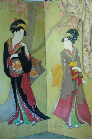 2 geishas inspired by a painting of Chokosai Eisho, painted on the recto side of the Japan screen. mixed media on wood