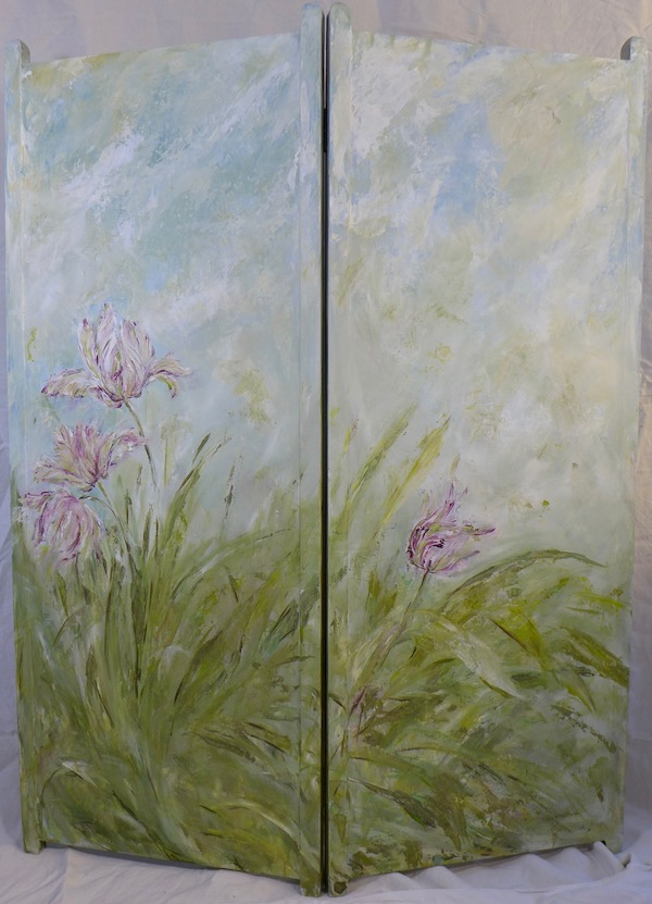 The verso side of the tulips screen,with light colors of green, blue for the sky and pink. mixed media on wood