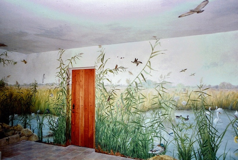 Camargue landscape with birds painted on 65m2 of walls and ceiling of the hunting lodge. mixed media