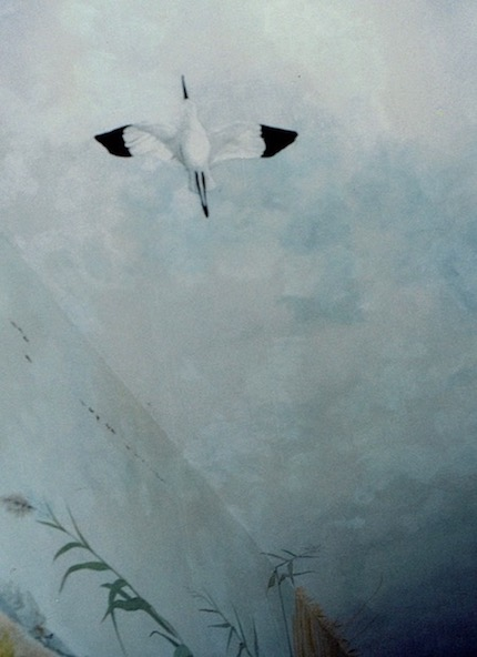 Camargue bird painted on the ceiling of the hunting lodge. mixed media