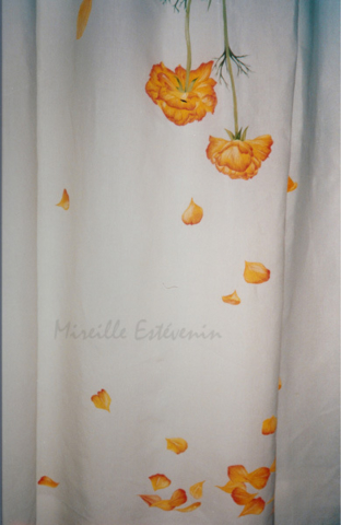 yellow flowers painted on linen curtains with cloth paintings.