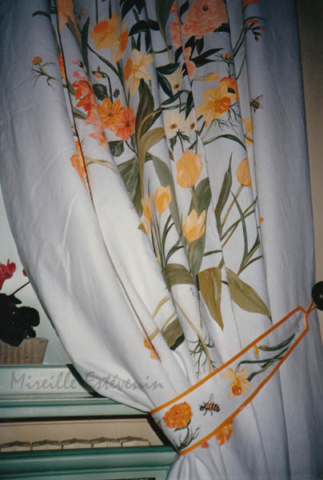 Yellow flowers painted on linen curtains, with cloth paintings