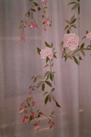 Pink peonies and fushias painted on curtains. Cloth paintings