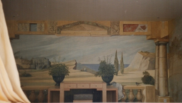 trompe-l'oeil mural painted on the walls of a bedroom en suite. classic décor. mixed media