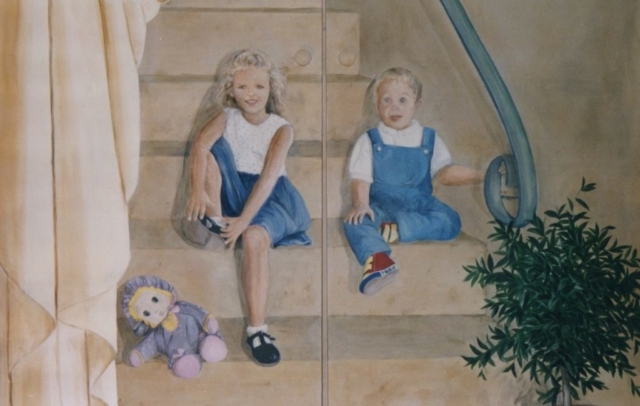 Detail of the siter and brother painted on the stairs. acrylic technic on 2 wood doors.