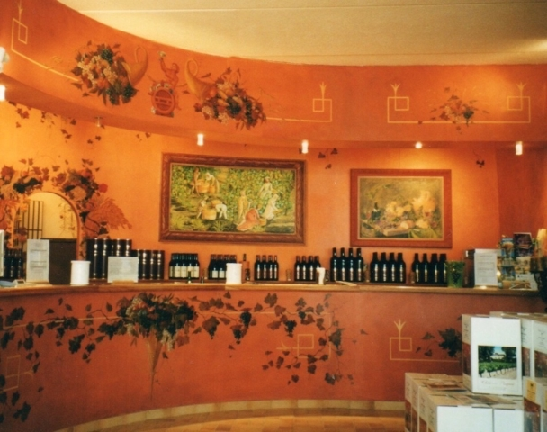 Design for a wine cellar, painted on wood panels with Bacchus as a theme. mixed media on wood