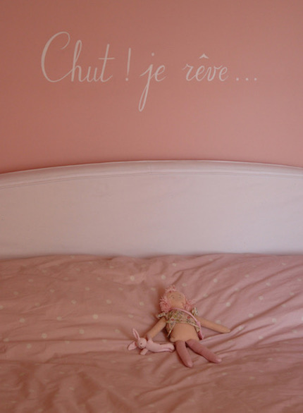 """Hush! I dreaming..."" painted on the wall of Victoire's bedroom, above the bed. acrylic painting"
