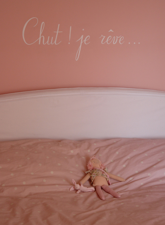 """""""Hush! I dreaming..."""" painted on the wall of Victoire's bedroom, above the bed. acrylic painting"""