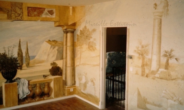 Classic mural painted on the walls of a bedroom en suite. mixed media technic