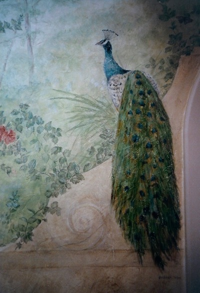Detail of the peacock painted on a wall of the bedroom as a fresco. acrylic technic