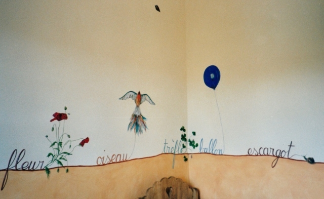 Words illustrated painted on the walls of Marie's bedroom as a frieze above the orange color. acrylic painting