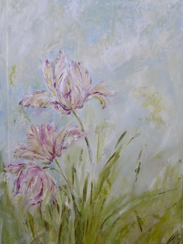 Detail of the verso side of the tulips screen, with 3 tulips on light blue.mixed media on wood