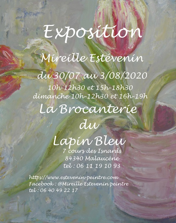 Paintings exhibition poster in 2020. Mireille Estévenin paintings